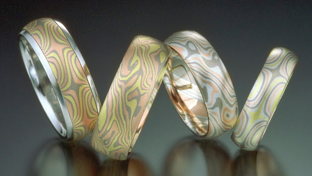 Mokume gane rings Jim Binnion